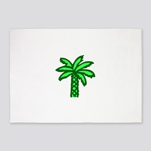 Cartoon Green Palm Tree 5'x7'Area Rug