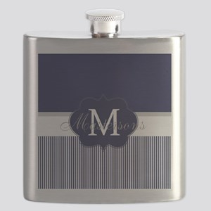 Elegant Monogram in Navy and White Flask