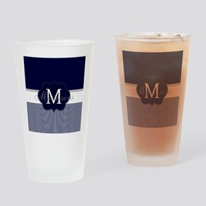 Elegant Monogram in Navy and White Drinking Glass