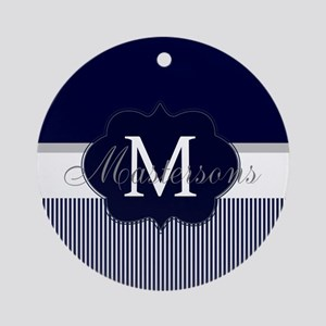 Elegant Monogram in Navy and White Round Ornament