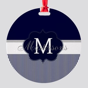 Elegant Monogram in Navy and White Ornament