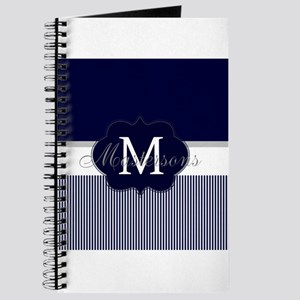 Elegant Monogram in Navy and White Journal
