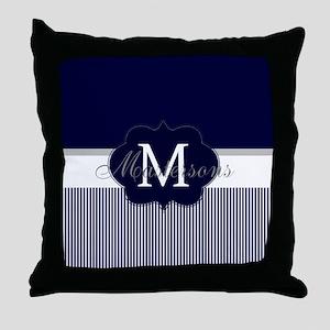 Elegant Monogram in Navy and White Throw Pillow