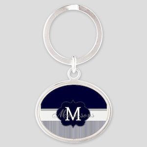 Elegant Monogram in Navy and White Keychains