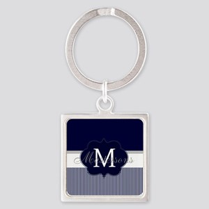 Elegant Monogram in Navy and White Keychains