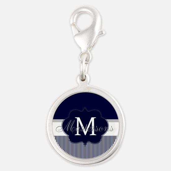 Elegant Monogram in Navy and White Charms