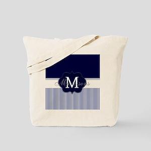 Elegant Monogram in Navy and White Tote Bag