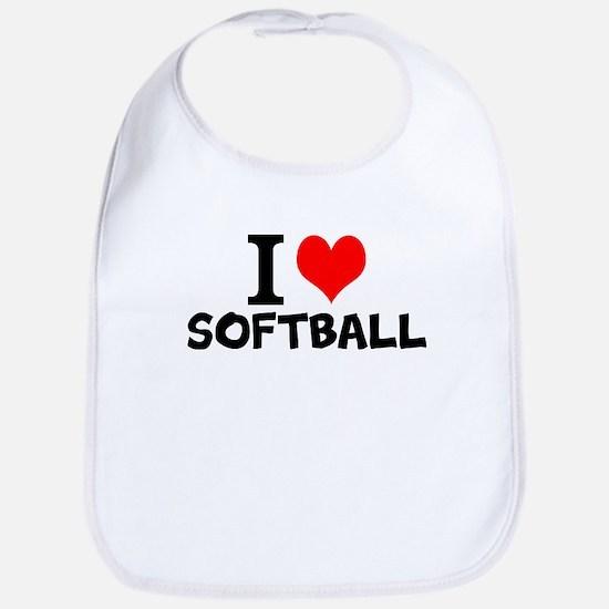 I Love Softball Baby Bib