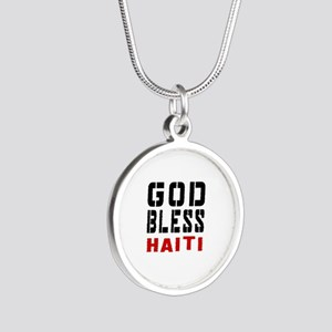 God Bless Haiti Silver Round Necklace