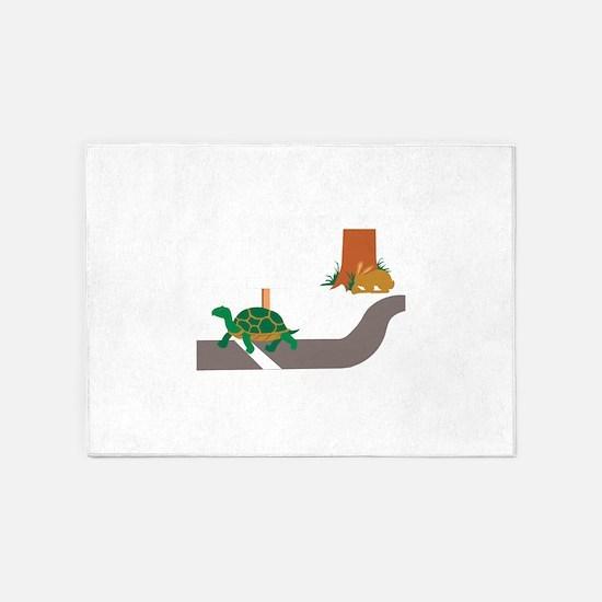 Tortoise and Hare race 5'x7'Area Rug
