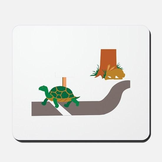Tortoise and Hare race Mousepad