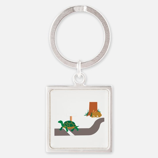 Tortoise and Hare race Keychains