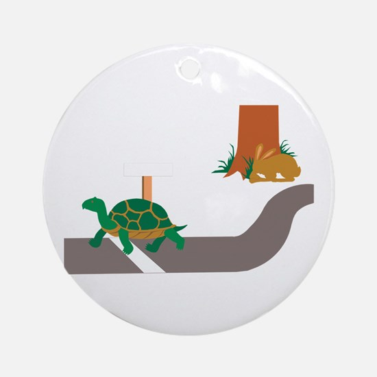 Tortoise and Hare race Round Ornament