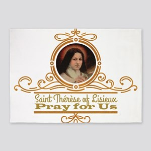 St. Therese Pray for Us 5'x7'Area Rug