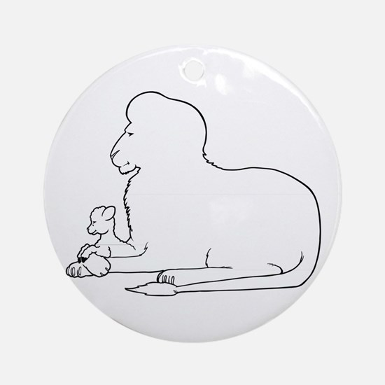 Lion and Lamb Frame Round Ornament