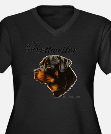 Cute Rottweilers Women's Plus Size V-Neck Dark T-Shirt