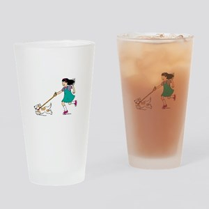 Girl walking with dog Drinking Glass