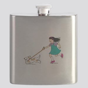 Girl walking with dog Flask