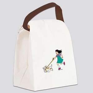 Girl walking with dog Canvas Lunch Bag