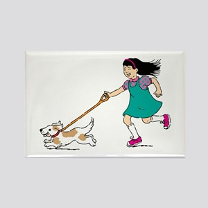Girl walking with dog Magnets