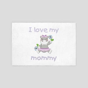 I Love My Mommy (hippo-Purple) 4' X 6' Rug