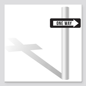 "One Way Square Car Magnet 3"" x 3"""