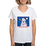 Santa Rabbit Women's V-Neck T-Shirt