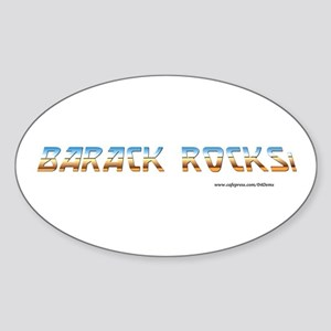 """Barack Rocks!"" Oval Sticker"