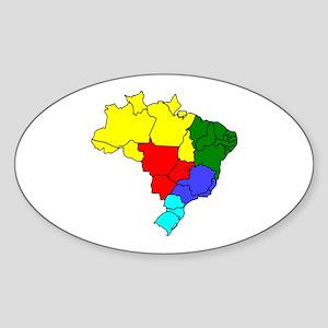 Colored map of Brazil Sticker
