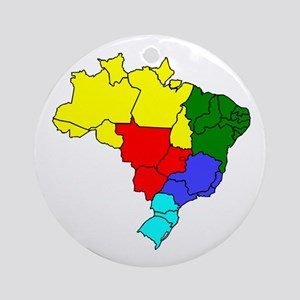 Colored map of Brazil Round Ornament