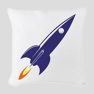 Blue rocket Woven Throw Pillow