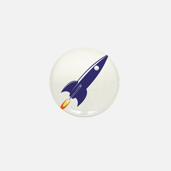 Blue rocket Mini Button