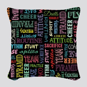 Colorful Cheer Terms On The Ch Woven Throw Pillow