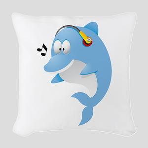 Dolphin cartoon with head phon Woven Throw Pillow