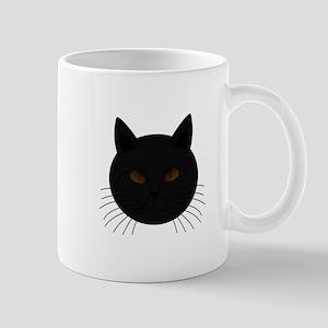 Black Cat Face Mugs