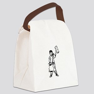 Paperboy delivering newspaper Canvas Lunch Bag