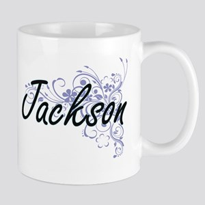 Jackson surname artistic design with Flowers Mugs