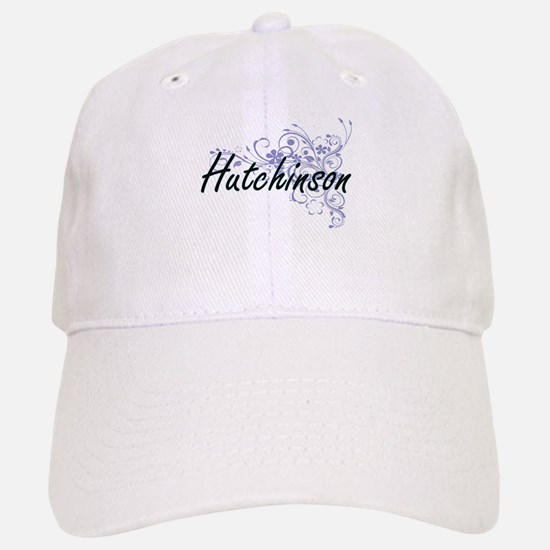 Hutchinson surname artistic design with Flower Baseball Baseball Cap