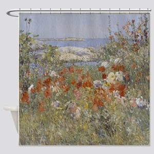 Poppies growing along the sea Shower Curtain