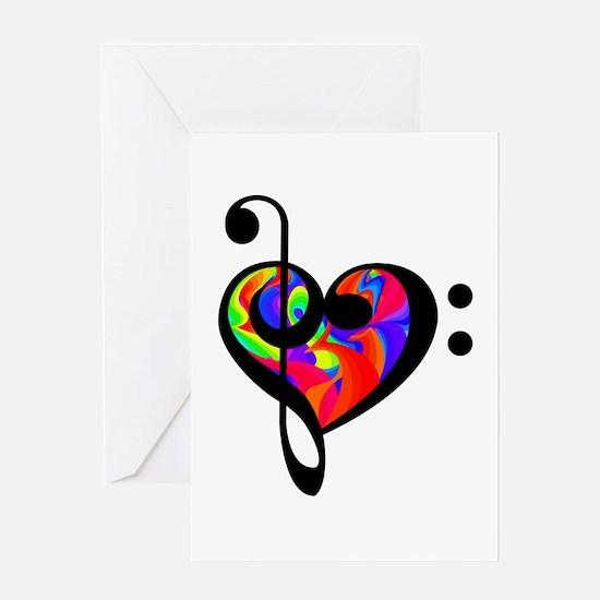 Rainbow clef Greeting Cards