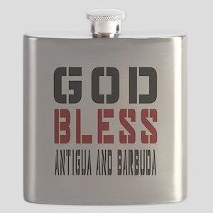 God Bless Antigua and Barbuda Flask