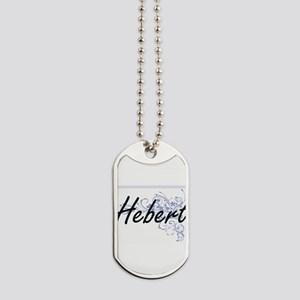 Hebert surname artistic design with Flowe Dog Tags