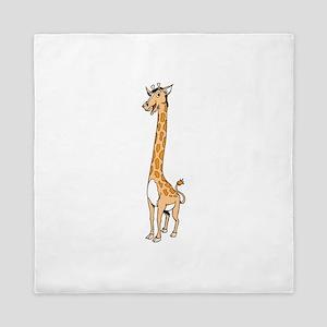 Giraffe with long neck Queen Duvet
