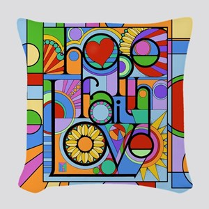 Hope, Faith, Love Woven Throw Pillow