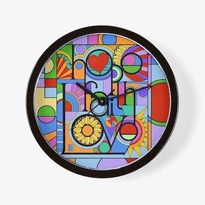 Hope, Faith, Love Wall Clock