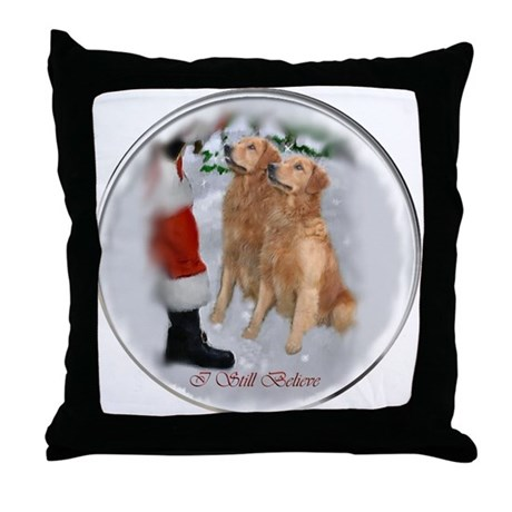 Golden Retriever Christmas Throw Pillow