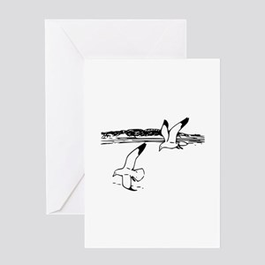 Flying Sea Gulls Greeting Cards