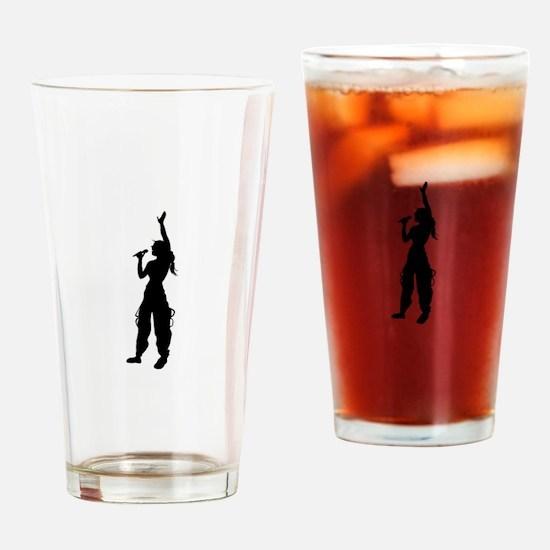 Pop girl singing silhouette Drinking Glass