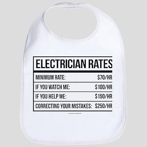 Electrician Rates Humor Baby Bib