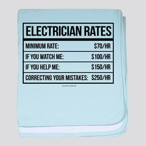 Electrician Rates Humor baby blanket